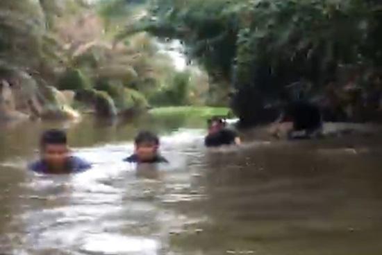 Cảnh sát ngâm mình dưới bùn, phá sới bạc giữa đầm lầy - Ảnh 2.