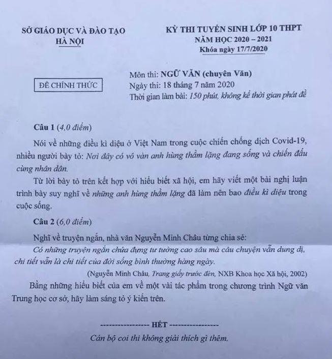 Đề chuyên Ngữ văn thi vào lớp 10 tại Hà Nội: Thời sự nhưng chưa hấp dẫn, dễ có nhiều nhiều điểm 6 - Ảnh 1.