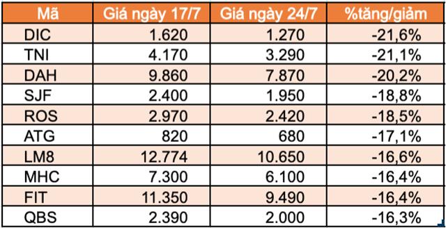 Top 10 cổ phiếu tăng/giảm mạnh nhất tuần: Nhóm midcap và penny bị bán mạnh - Ảnh 1.