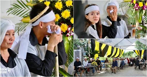 Vợ sắp cưới của Vũ Văn Thanh mắt đỏ hoe trong lễ tang bố chồng - Ảnh 1.