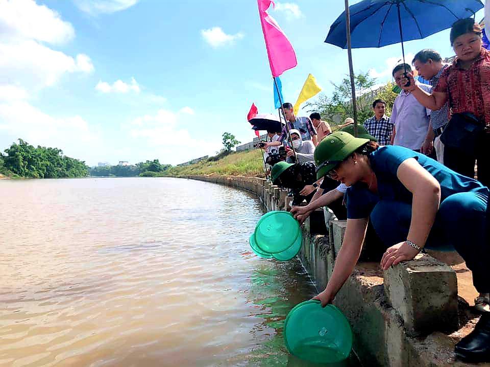 Lạng Sơn: Hơn 108.000 con cá giống được thả xuống sông Kỳ Cùng  - Ảnh 1.