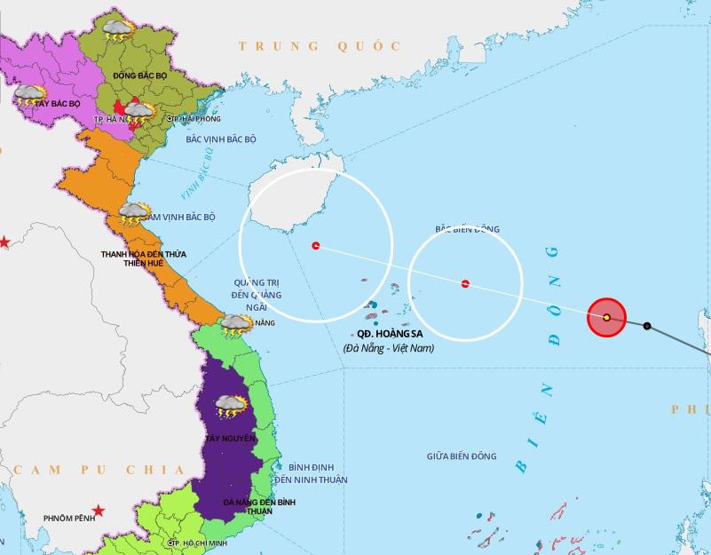 Áp thấp mạnh lên thành áp thấp nhiệt đới, cách Hoàng Sa 600km về phía Đông - Ảnh 2.
