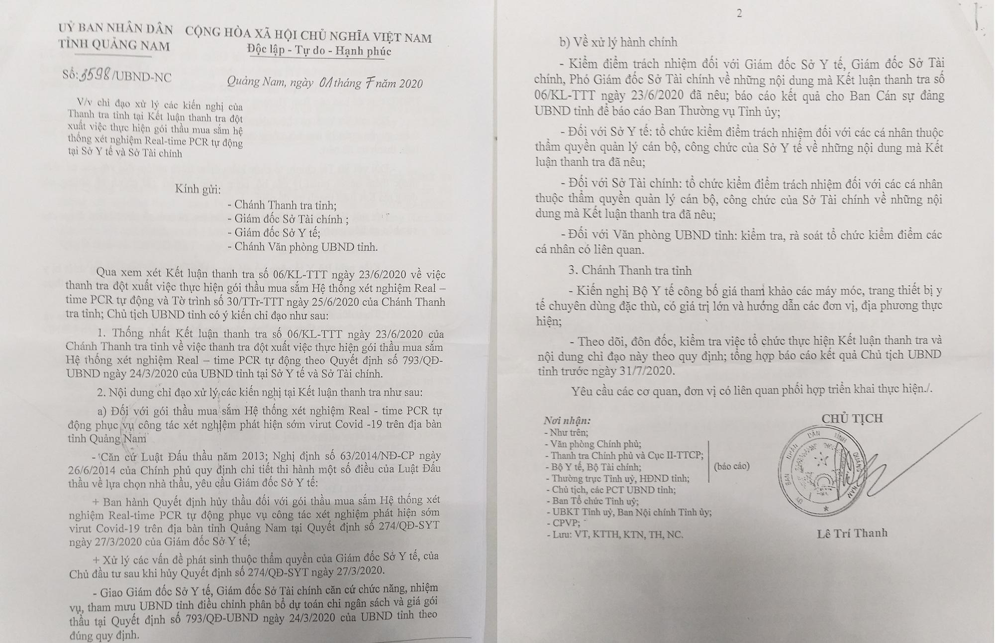 2 Giám đốc Sở bị Chủ tịch Quảng Nam chỉ đạo kiểm điểm vụ mua máy xét nghiệm Covid-19 - Ảnh 1.
