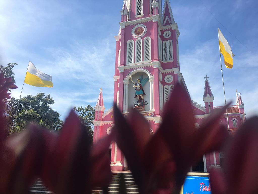 Nhà thờ màu tím, hồng nổi bật giữa nền trời ở Nghệ An - Ảnh 6.