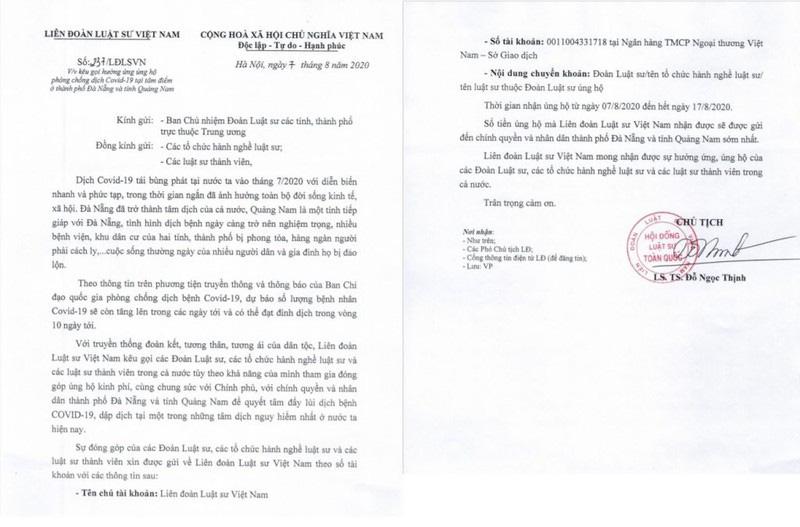 Liên đoàn Luật sư Việt Nam kêu gọi chung tay chống Covid-19 cùng Đà Nẵng và Quảng Nam - Ảnh 1.