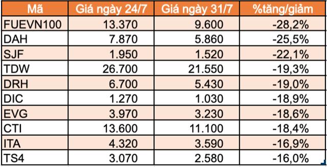 Top 10 cổ phiếu tăng/giảm mạnh nhất tuần: FUEVN100 của VinaCapital giảm mạnh sau hơn 1 tuần niêm yết - Ảnh 1.