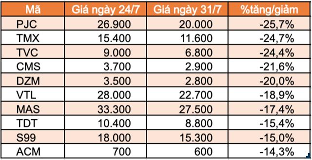 Top 10 cổ phiếu tăng/giảm mạnh nhất tuần: FUEVN100 của VinaCapital giảm mạnh sau hơn 1 tuần niêm yết - Ảnh 2.