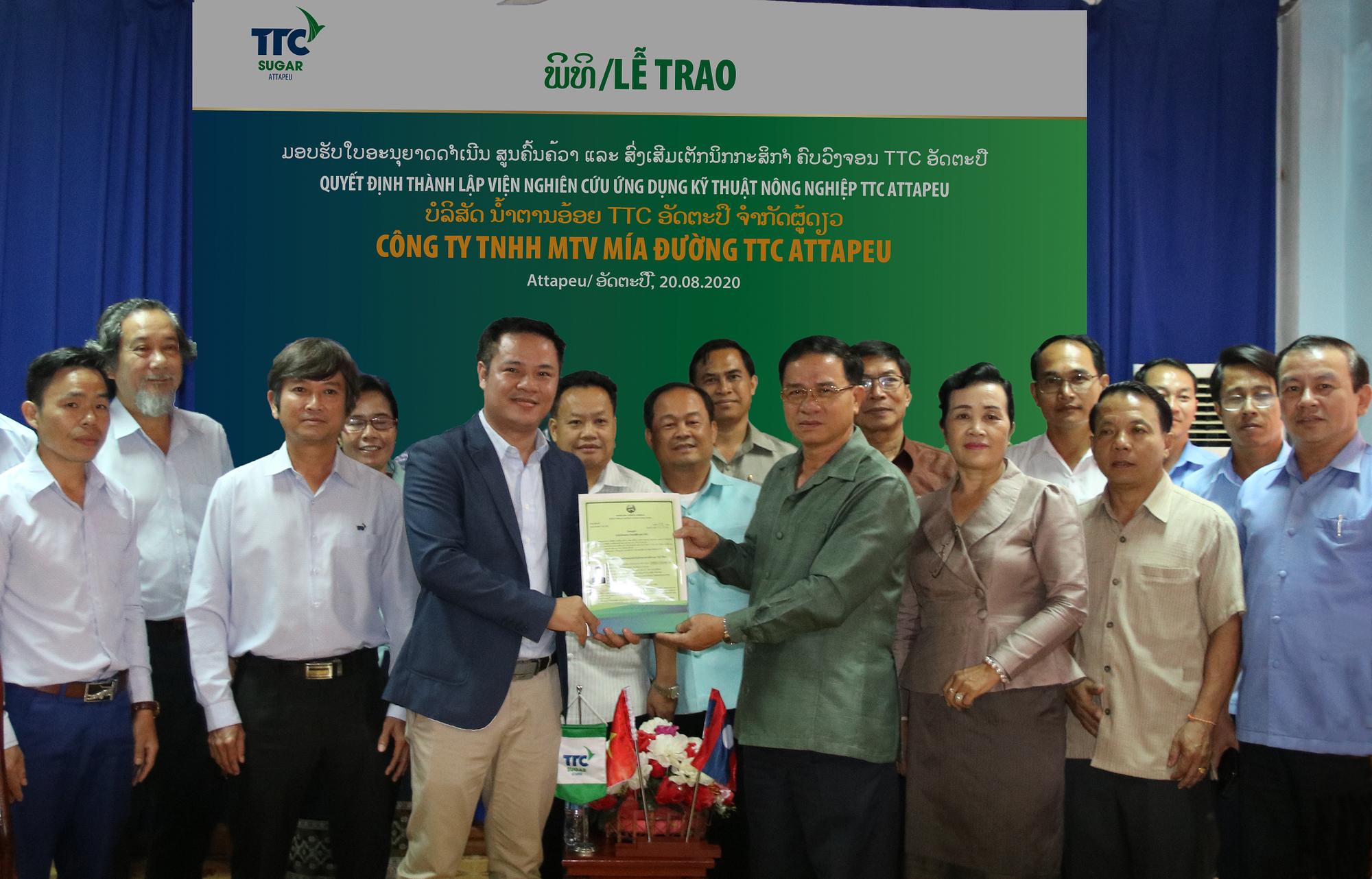 TTC Sugar thành lập Viện Nghiên cứu Ứng dụng Kỹ thuật Nông nghiệp TTC Attapeu - Ảnh 1.
