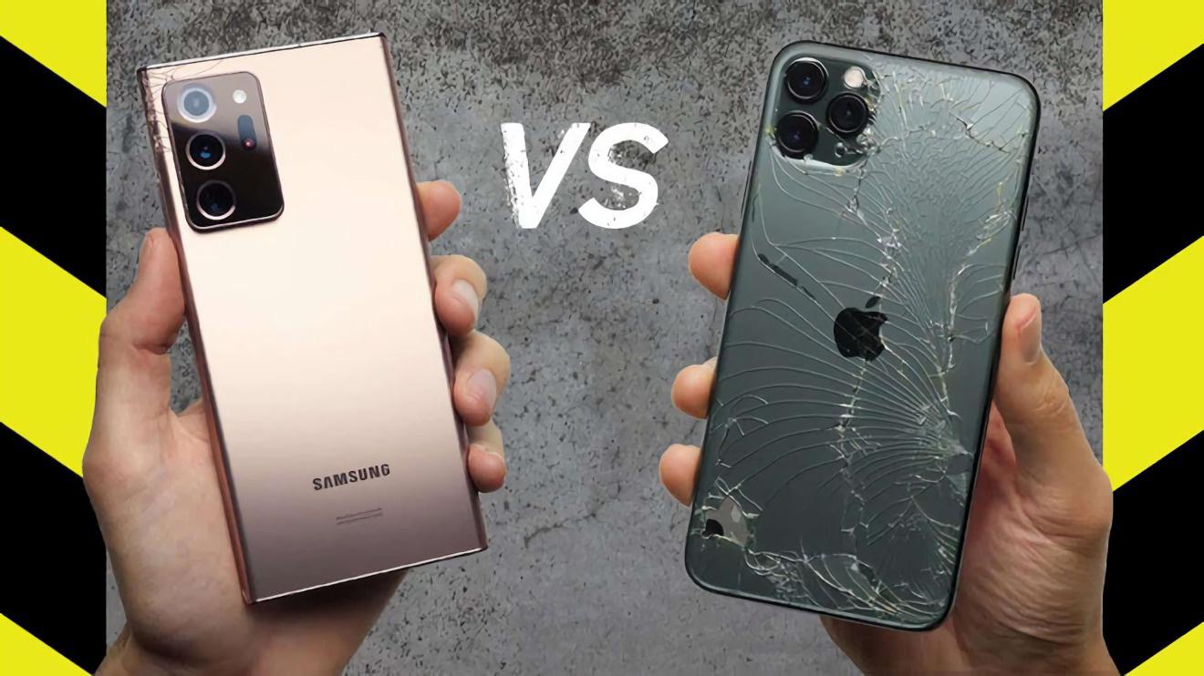 Thử thách độ bền kính: Thả rơi Samsung Galaxy Note 20 Ultra và iPhone 11 Pro Max - Ảnh 2.