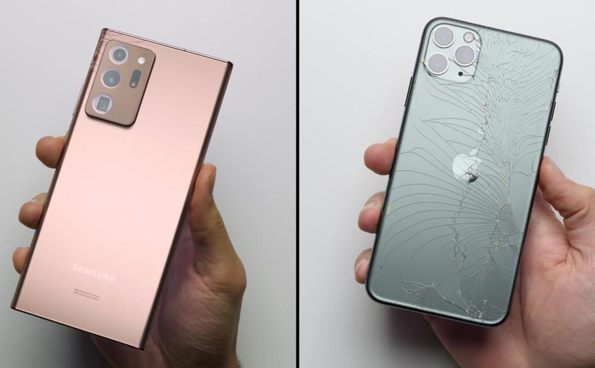 Thử thách độ bền kính: Thả rơi Samsung Galaxy Note 20 Ultra và iPhone 11 Pro Max - Ảnh 1.