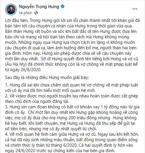 Nguyễn Trọng Hưng tố vợ cũ Âu Hà My bịa chuyện, tiết lộ mối quan hệ thực sự