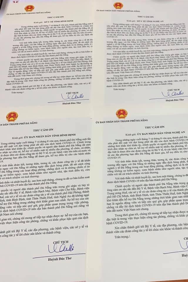 Chủ tịch Đà Nẵng gửi thư cảm ơn các đơn vị hỗ trợ chống dịch Covid-19 - Ảnh 1.