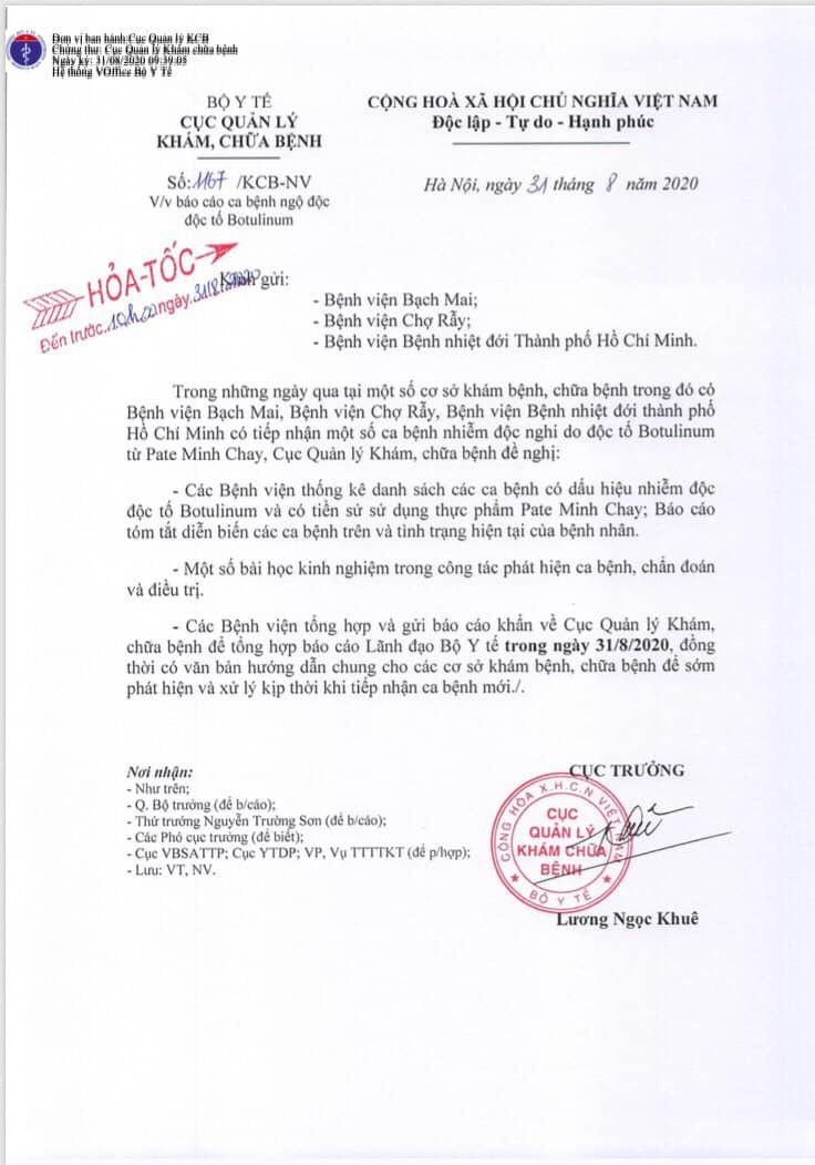Vụ ngộ độc Pate Minh Chay: Bộ Y tế yêu cầu khẩn cấp báo cáo  - Ảnh 1.