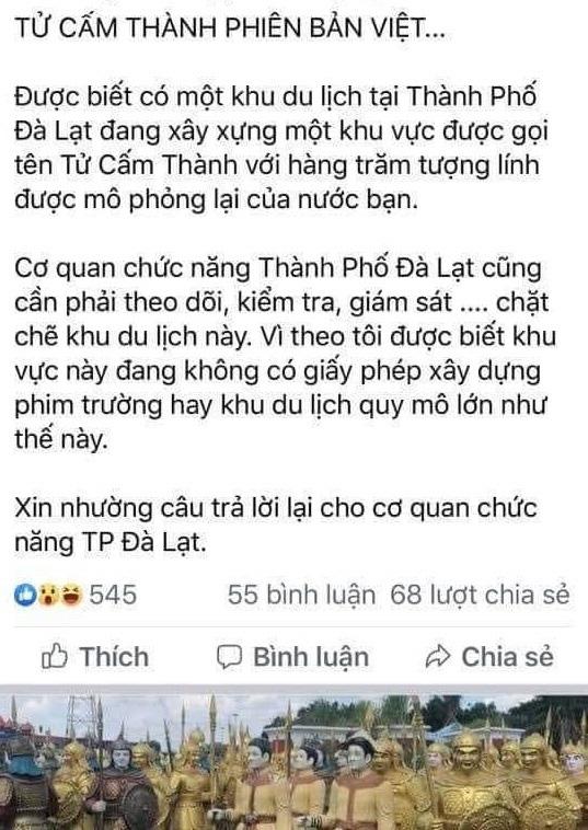"""Thực hư thông tin KDL """"Tử Cấm Thành phiên bản Việt"""" tại Lâm Đồng - Ảnh 2."""