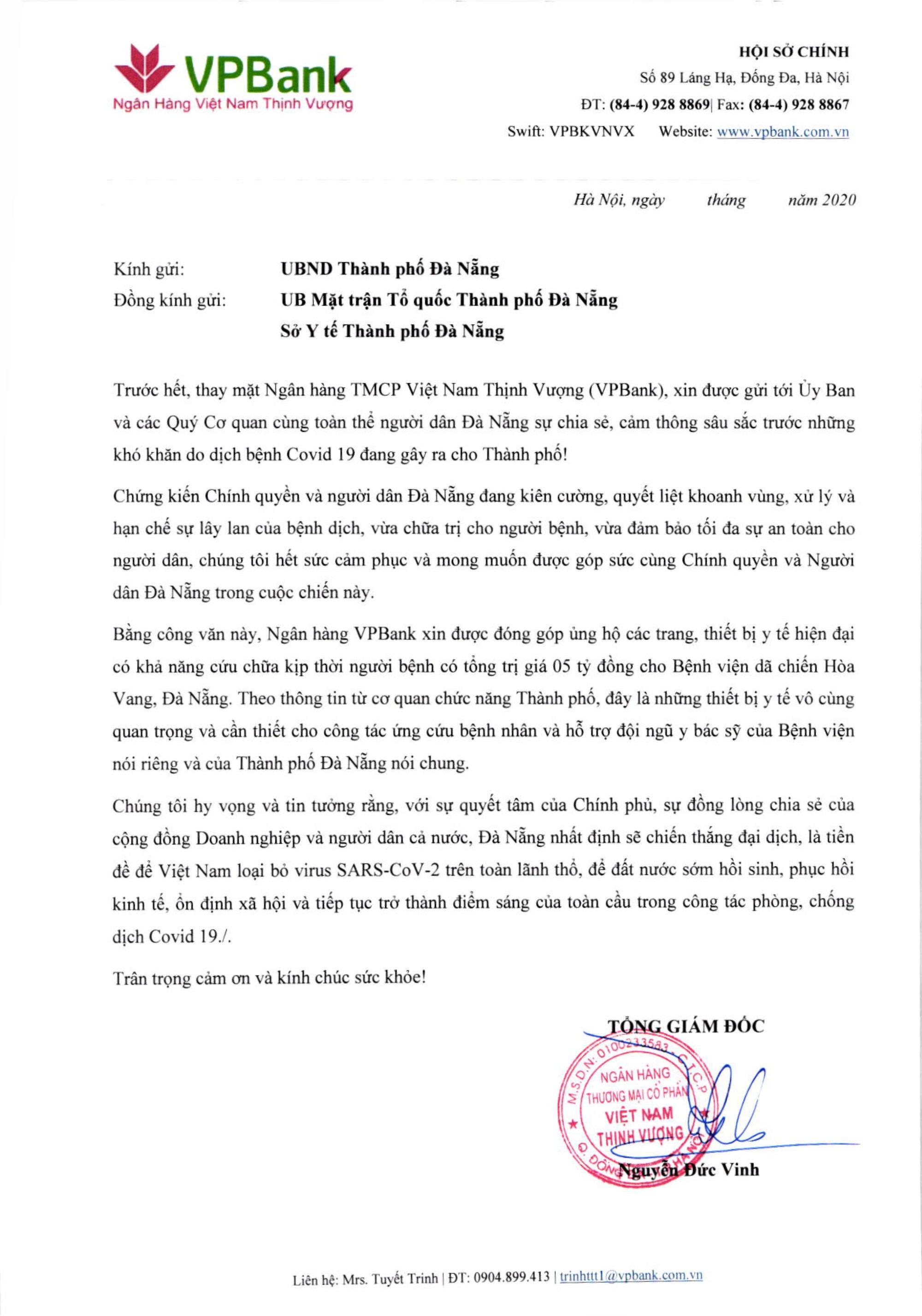 VPBank ủng hộ 5 tỷ đồng cho bệnh viện dã chiến Hòa Vang, Đà Nẵng - Ảnh 2.