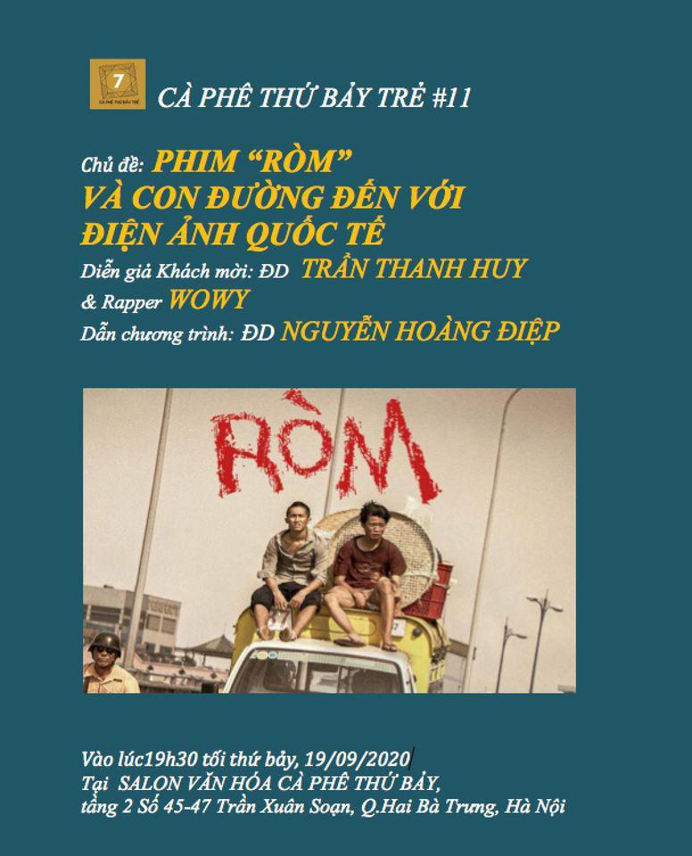 """Rapper Wowy và đạo diễn phim """"Ròm"""" giao lưu với khán giả tối 19/9 tại Hà Nội - Ảnh 2."""