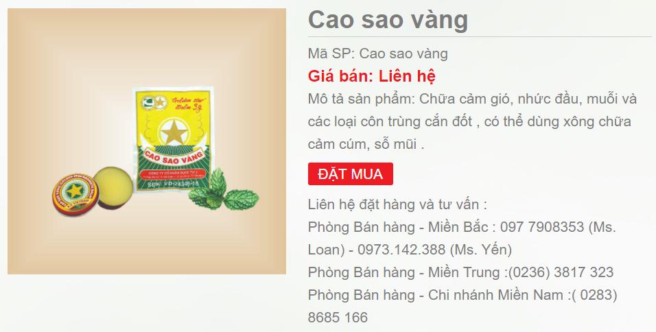 Cao Sao Vàng được giới thiệu trên website của CTCP Dược phẩm Trung ương 3