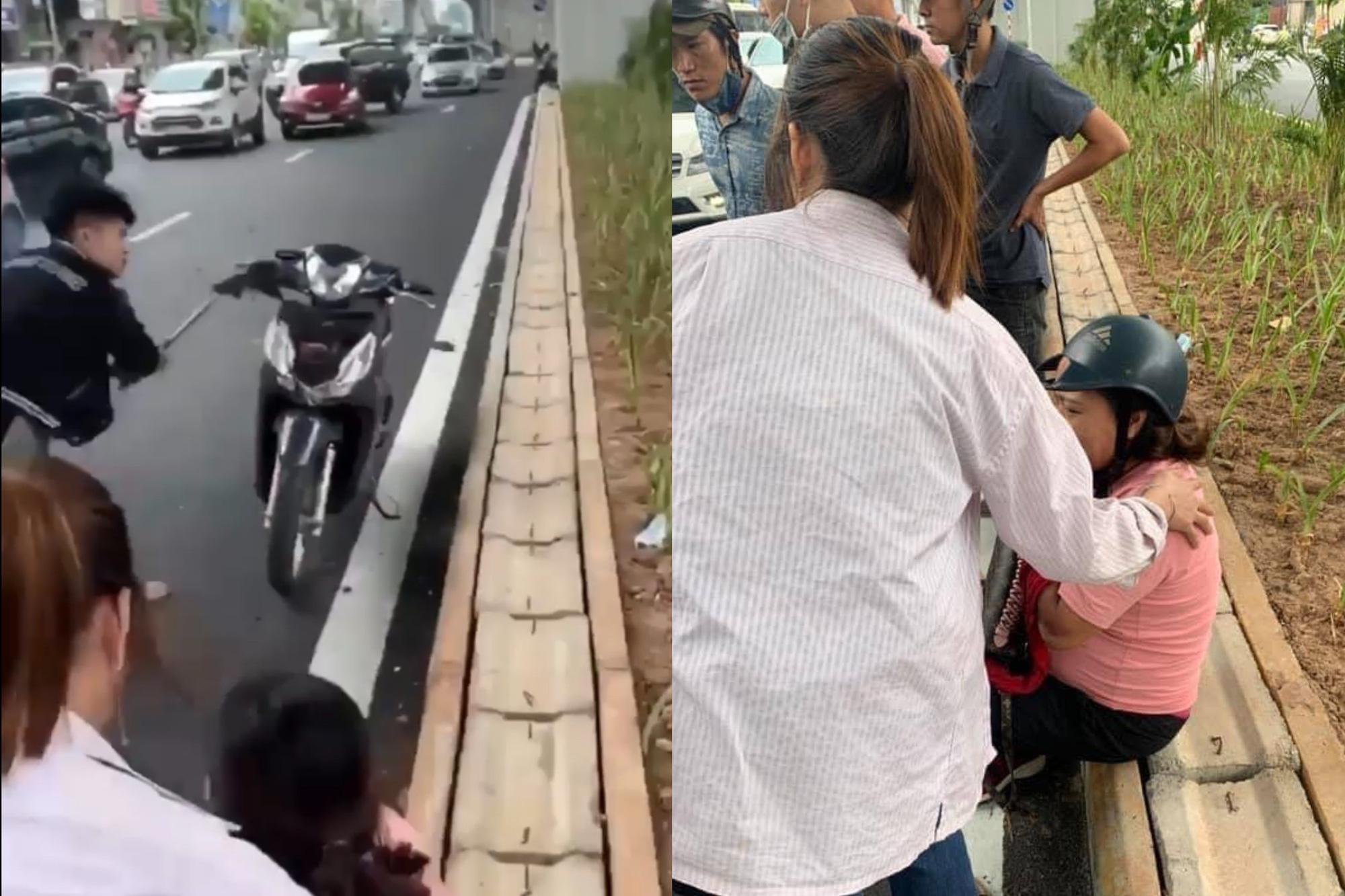 Thanh niên côn đồ đập phá xe máy sau khi tông bà bầu - Ảnh 3.