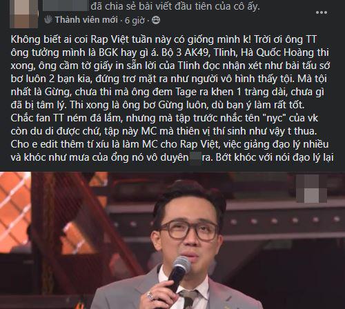 Trấn Thành bị chỉ trích thiên vị thí sinh tại Rap Việt - Ảnh 3.