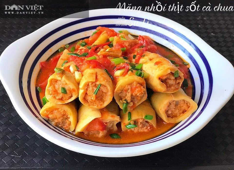Măng nhồi thịt sốt cà chua, món ăn lạ miệng hấp dẫn cả nhà - Ảnh 3.