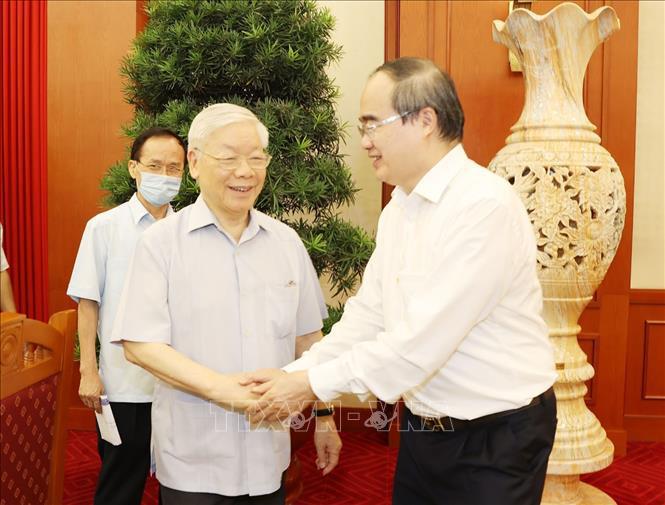 Tổng Bí thư, Chủ tịch nước chủ trì buổi làm việc với Ban Thường vụ Thành ủy TP Hồ Chí Minh - Ảnh 1.