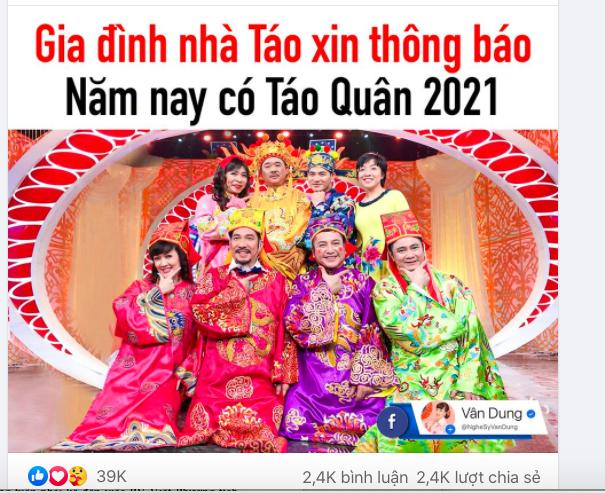 """NSND Công Lý, Vân Dung báo tin vui Táo Quân 2021: """"Năm nay chúng em sẽ lên chầu trời"""" - Ảnh 1."""