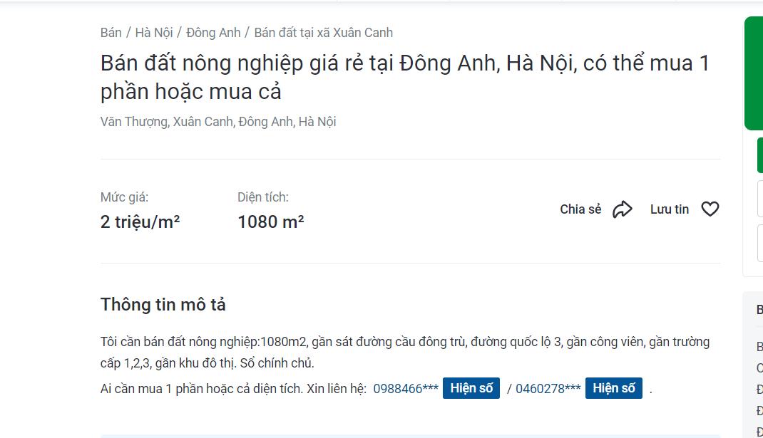 Giá đất nông nghiệp vùng ven Hà Nội tăng chục lần - Ảnh 1.