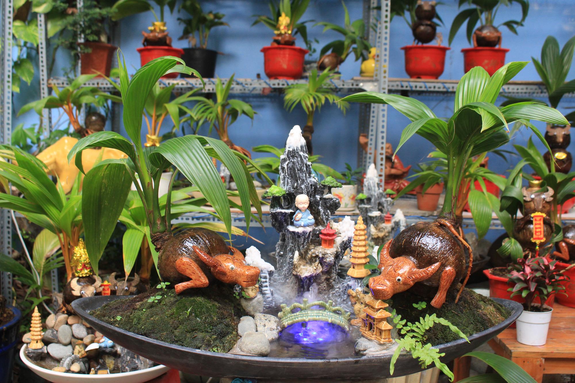 Độc đáo dừa khô bonsai hình trâu chơi Tết tiền triệu ở Sài Gòn - Ảnh 5.