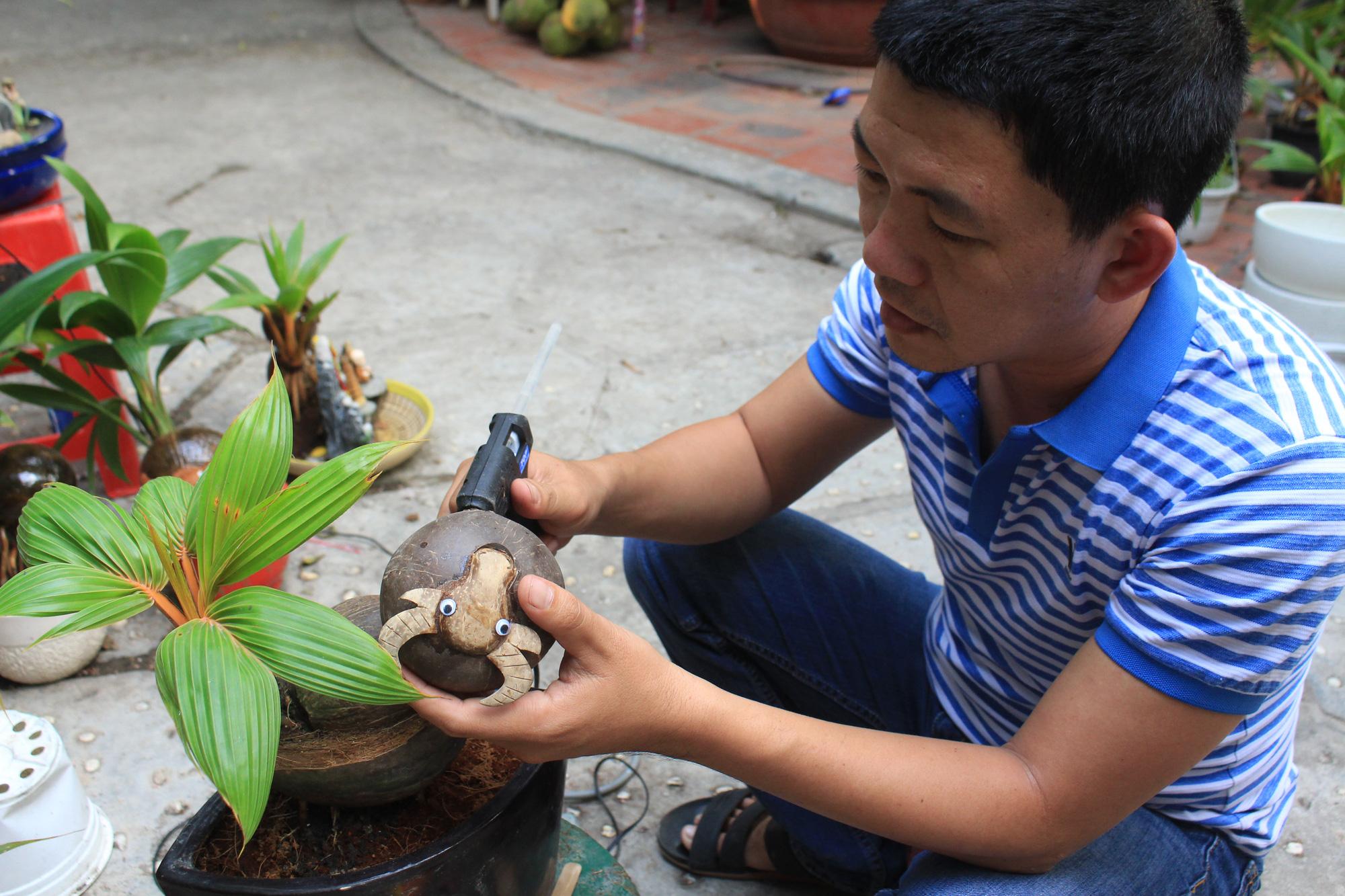 Độc đáo dừa khô bonsai hình trâu chơi Tết tiền triệu ở Sài Gòn - Ảnh 7.