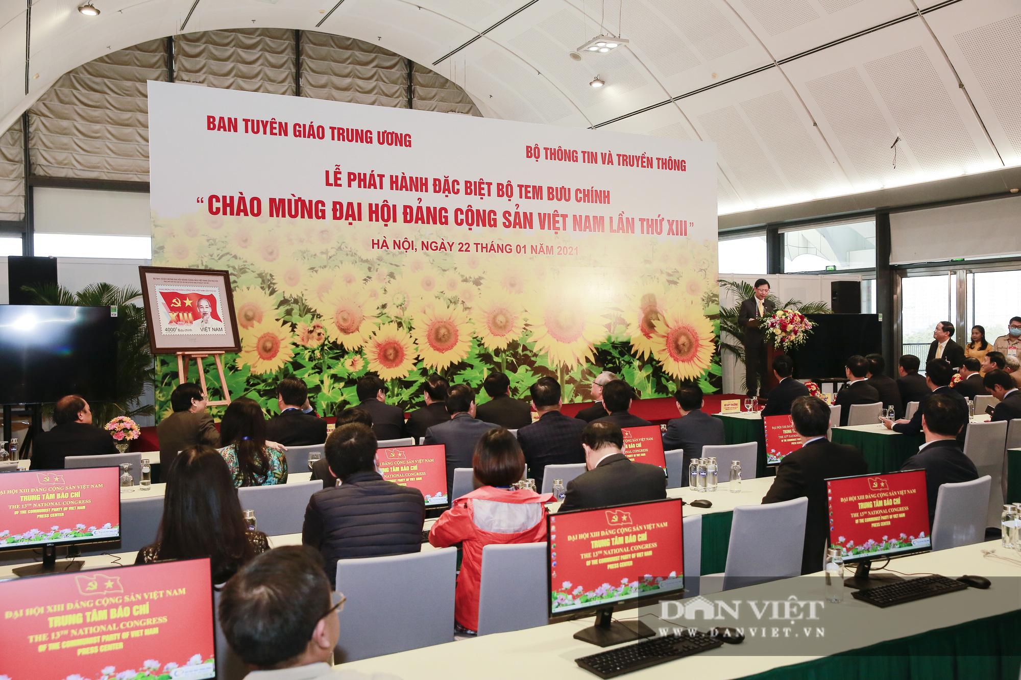 Chính thức phát hành bộ tem bưu chính đặc biệt chào mừng Đại hội Đảng XIII - Ảnh 3.