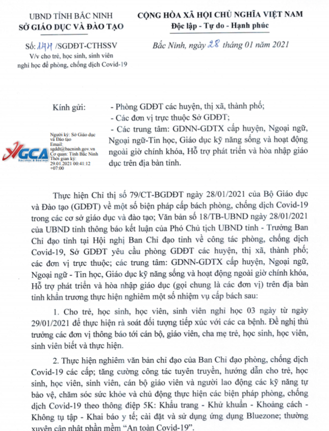 Bắc Ninh: Tạm thời cho học sinh nghỉ học từ 29/1 đến 31/1 - Ảnh 1.