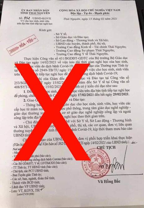 Thái Nguyên: Đã xác định được đối tượng chỉnh sửa văn bản của UBND tỉnh về việc cho học sinh nghỉ học phòng dịch Covid-19 - Ảnh 1.