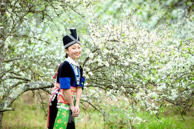 Thiếu nữ khoe sắc bên hoa mận nở trắng muốt nơi cổng trời đẹp như tranh - Ảnh 3.
