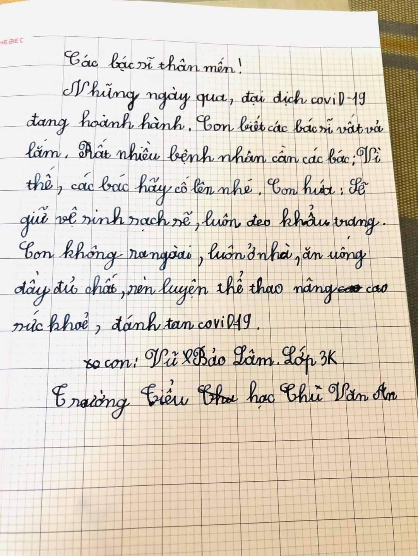 Xúc động những lưu bút yêu thương của học sinh tiểu học Chí Linh gửi lực lượng tuyến đầu chống dịch Covid-19 - Ảnh 1.