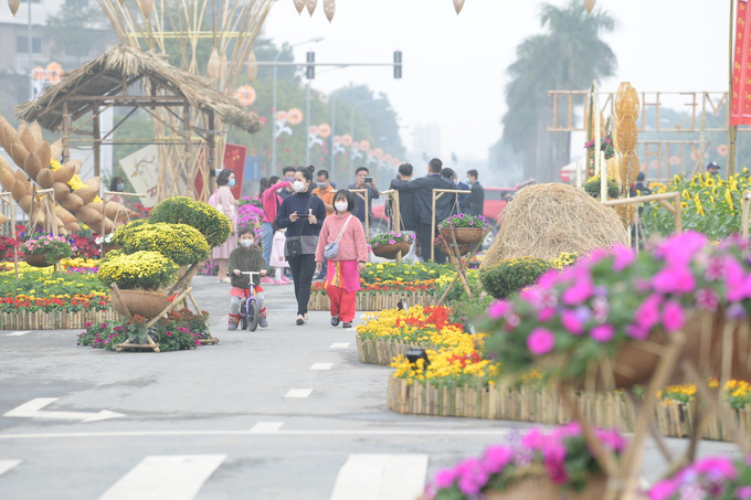 Không gian Tết xưa tại đường hoa Home Hanoi Xuan 2021 - Ảnh 1.