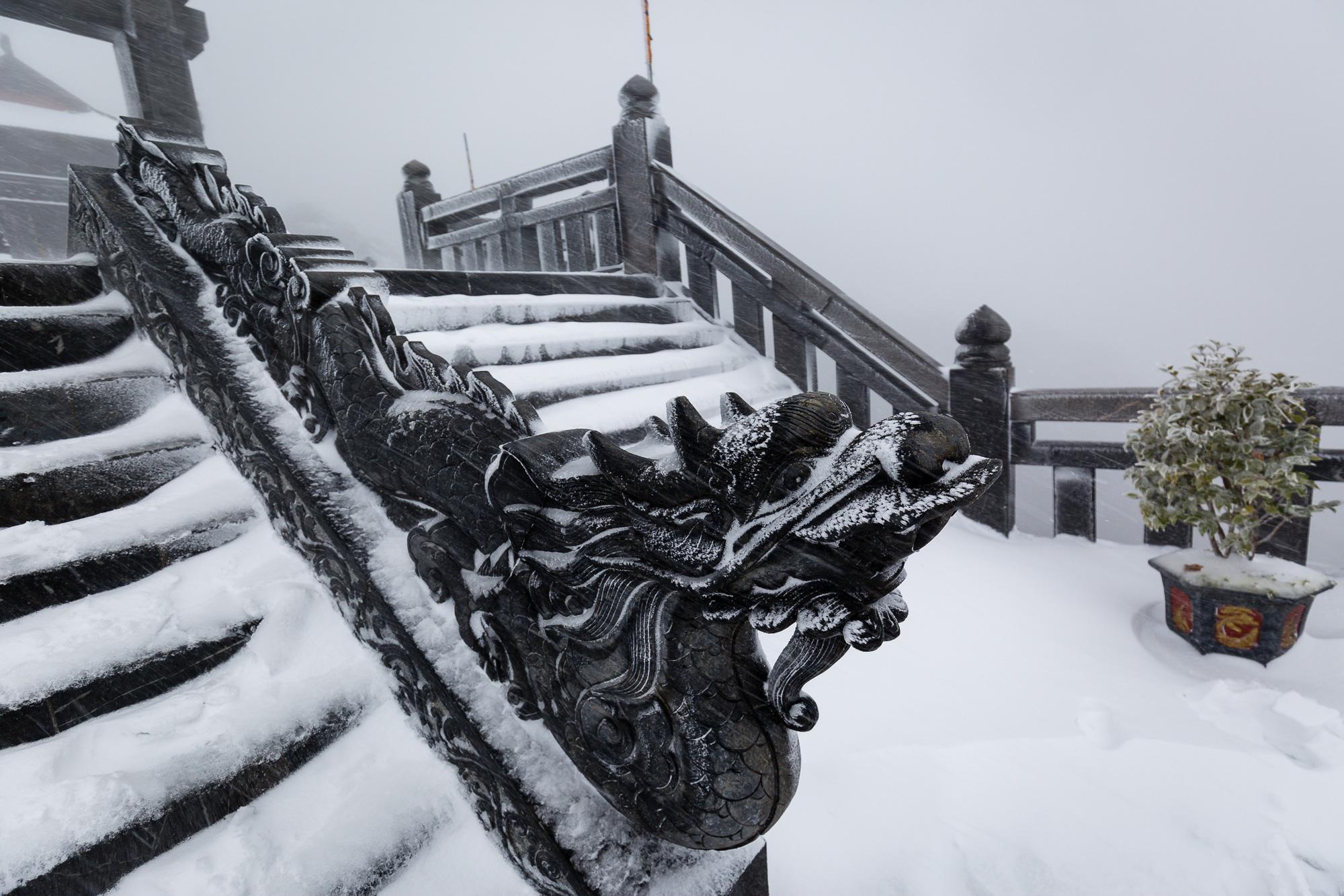 Sapa: Tuyết phủ dày 60cm trắng trên đỉnh Fansipan - Ảnh 4.