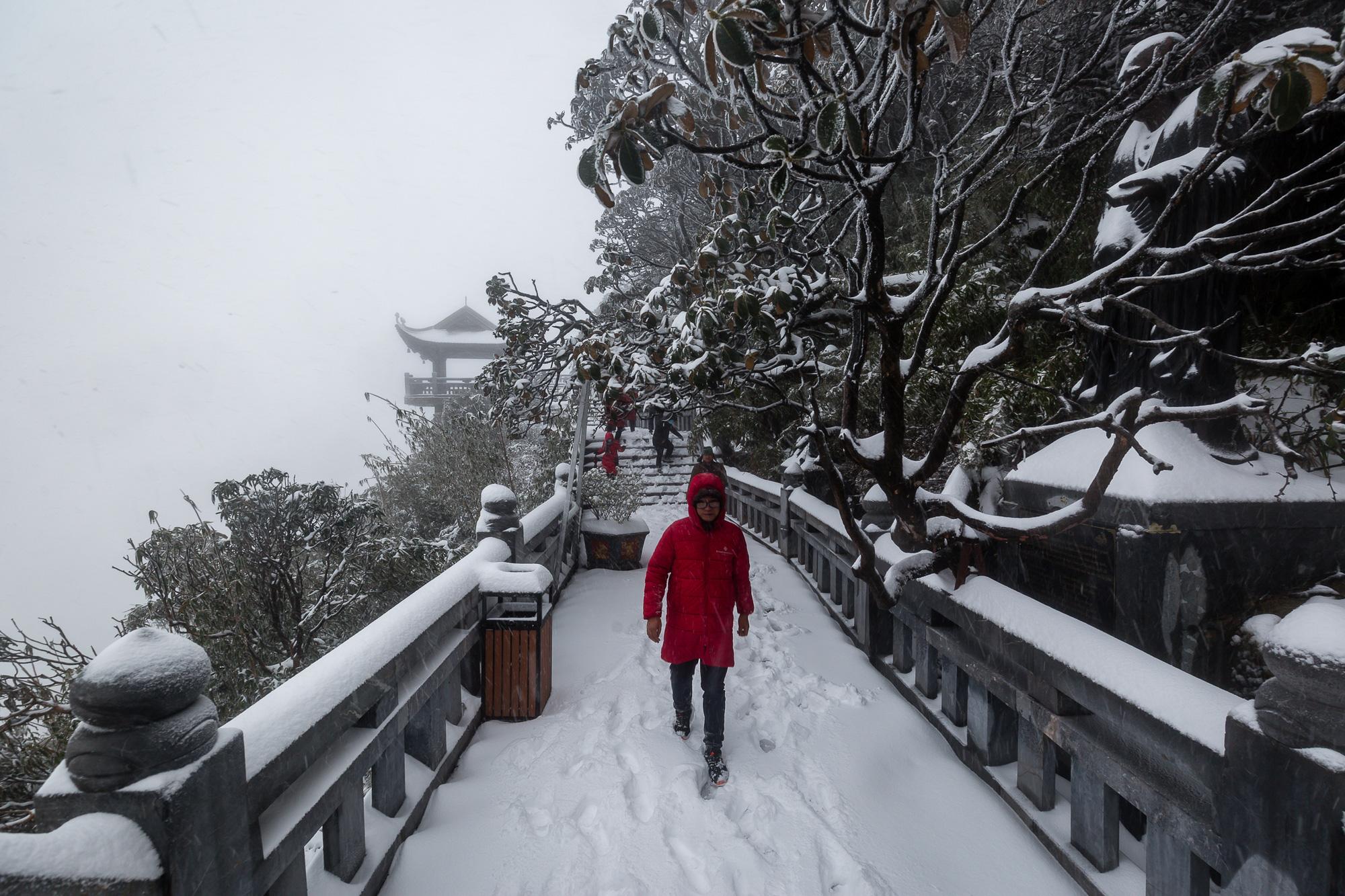 Cảnh đẹp mê ly trên đỉnh Fansipan trong ngày tuyết rơi dày chưa từng có - Ảnh 7.