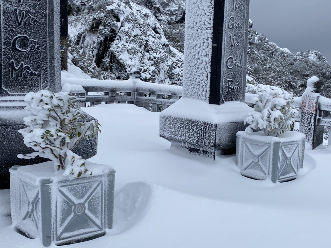 Cảnh đẹp mê ly trên đỉnh Fansipan trong ngày tuyết rơi dày chưa từng có - Ảnh 8.