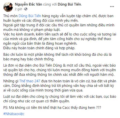 CEO Đắc Văn lên tiếng bảo vệ thủ môn Bùi Tiến Dũng? - Ảnh 2.