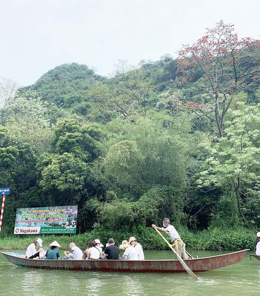 Chùa Hương: Hoa gạo nở bung sắc đỏ dọc suối Yến khiến du khách ngẩn ngơ - Ảnh 9.