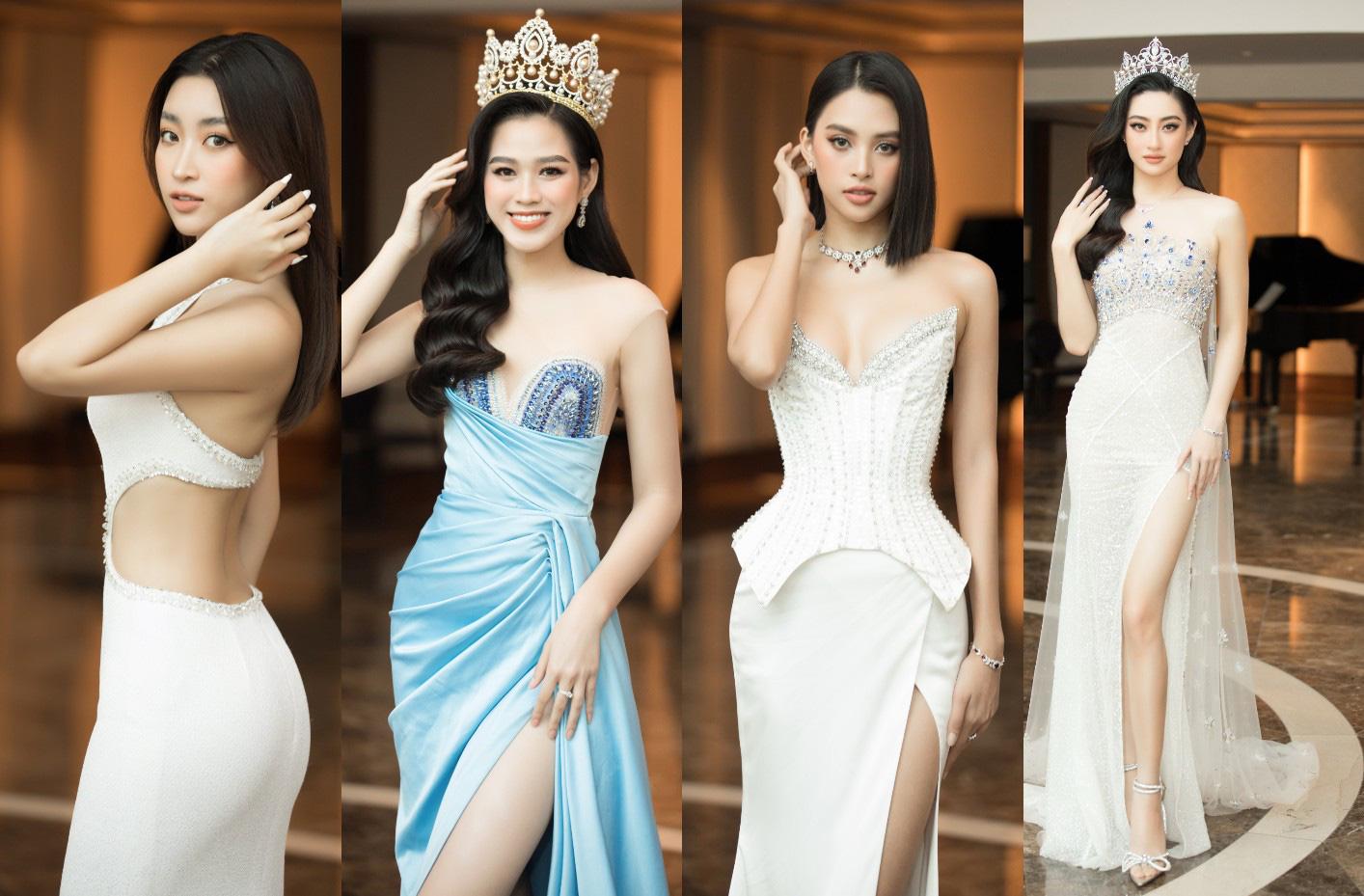 4 Hoa hậu quyến rũ hút mắt nhờ váy xẻ cao, khoét lưng táo tạo: Lương Thùy Linh, Đỗ Thị Hà... - Ảnh 1.
