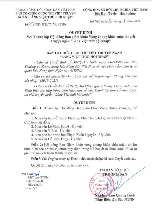 """Công bố quyết định thành lập Hội đồng giám khảo vòng Chung khảo cuộc thi viết truyện ngắn """"Làng Việt thời hội nhập"""" - Ảnh 1."""