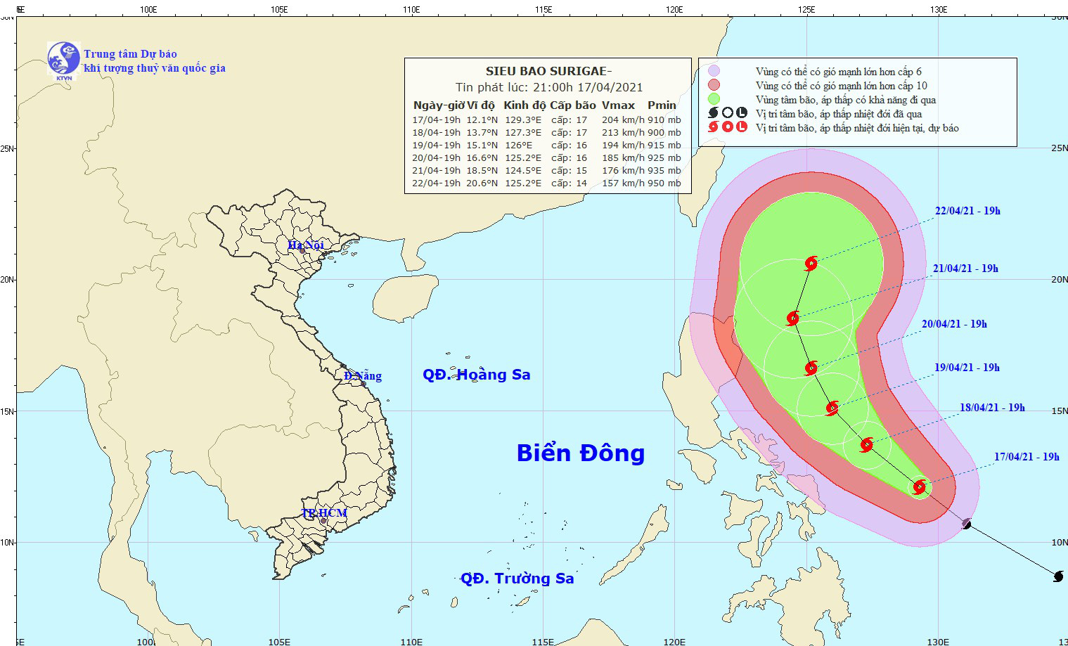 Siêu bão Surigae rất nguy hiểm, hướng bão thay đổi có thể sẽ ảnh hưởng trực tiếp tới biển Đông - Ảnh 1.