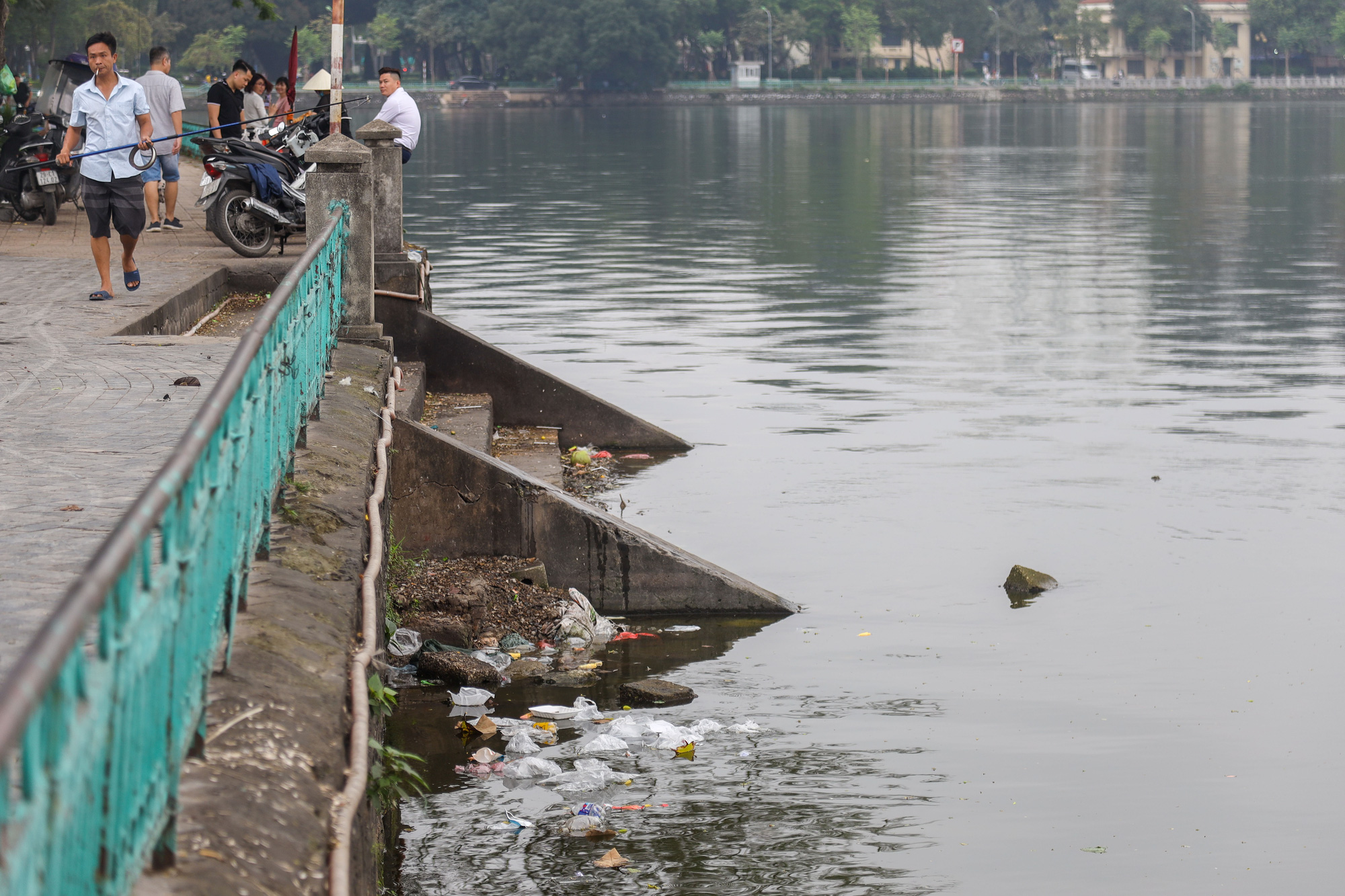 Nước hồ Tây có dấu hiệu ô nhiễm, bất ngờ chuyển màu xanh rêu đậm - Ảnh 9.