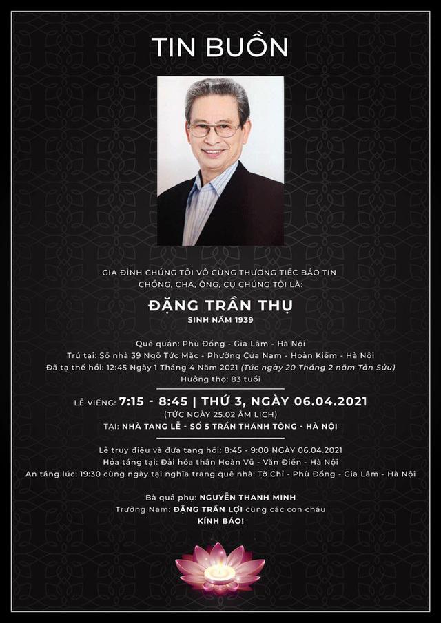"""Nghệ sĩ Đặng Trần Thụ - """"chuyên đóng vai sướng"""" của màn ảnh Việt qua đời ở tuổi 82 - Ảnh 2."""