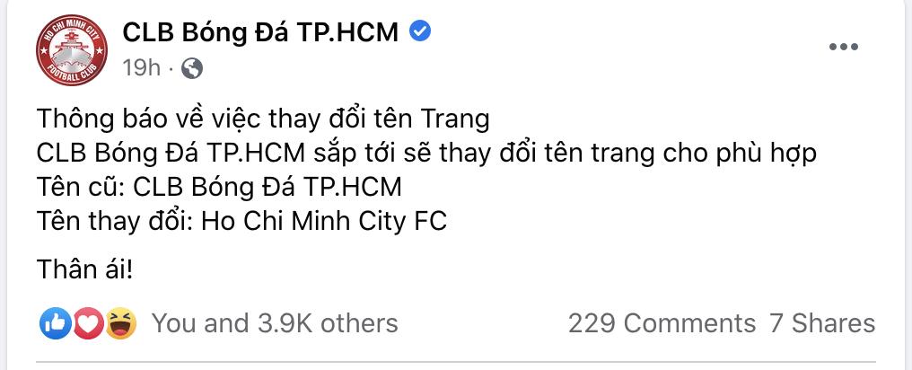 """CLB TP.HCM đổi tên, CĐV đề xuất ý tưởng... """"Ngô Hoàng Thịnh FC"""" - Ảnh 2."""