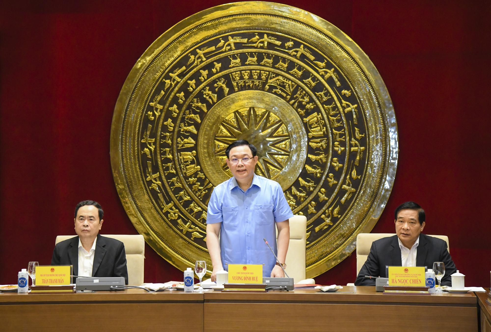 Ảnh: Chủ tịch Quốc hội Vương Đình Huệ làm việc với Hội đồng Dân tộc - Ảnh 2.