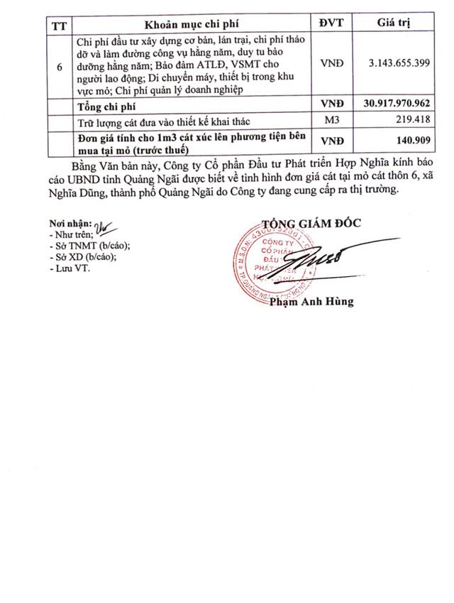 Giá cát đột ngột tăng gấp đôi ở Quảng Ngãi: Chủ mỏ công khai giá bán tại mỏ  - Ảnh 4.