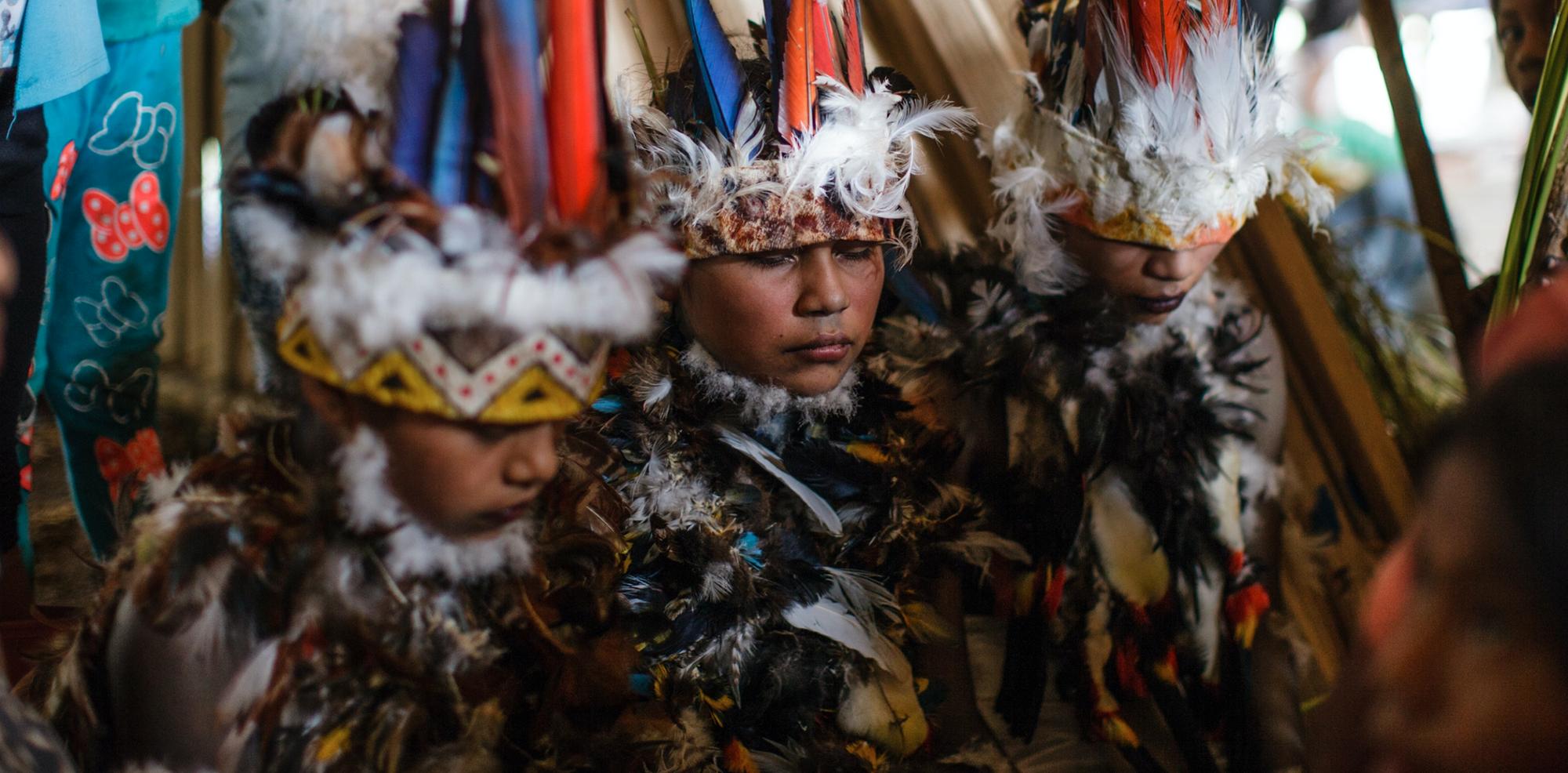 Kỳ lạ hoá trang thành quỷ, dương vật chạm khắc của bộ tộc Tikuna trong đêm nghi lễ này - Ảnh 1.
