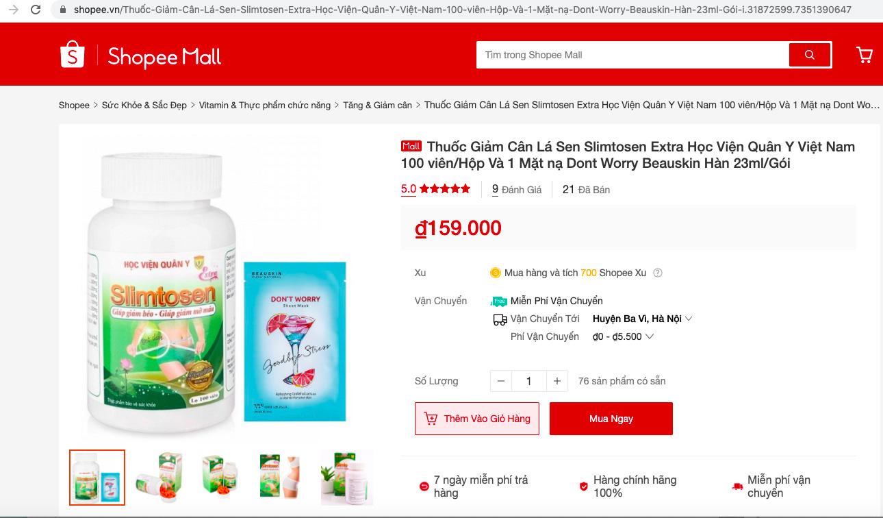 Thuốc giảm cân, nước hoa kích dục ngang nhiên rao bán trên chợ điện tử Shopee, Lazada - Ảnh 7.
